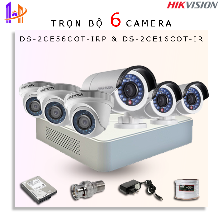 Trọn bộ 6 camera 1.0 MP DS-2CE56C0T-IRP + DS-2CE16C0T-IR + DS-7108HGHI-F1/N